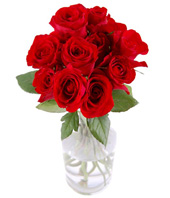 12 Red Roses In Glass Vase