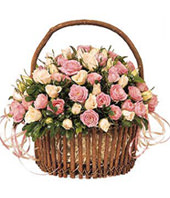 Basket of Mini-Rose,56 Roses