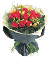 12 Stems Red Rose, Green Hypericum