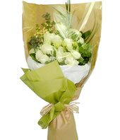 12 White Roses, Stock & Greens