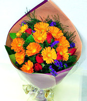 10 Orange Gerbera Daisies, 5 Red Roses