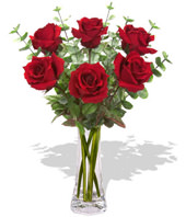 6 Red Roses With a Vase