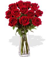 12 Red Roses With a Vase