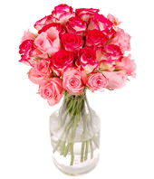 24 Pink Roses In Glass Vase
