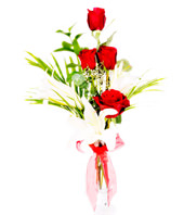 Red Roses & Lilies In White