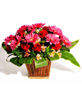 Table Arrangement Of Red Roses & Pink Gerberas