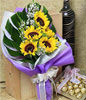 5 Sunflower Handbouquet With Monstera Foliage