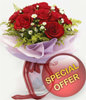 12 Red Roses With White Pheonix Special Bouquet