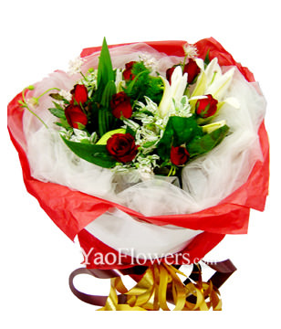 6 Lilium and 9 Red roses