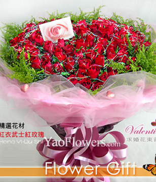 99 Red Roses,hearted-shape package