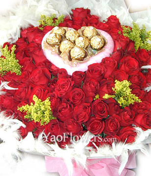 101 Red or Pink roses,8 cholocates