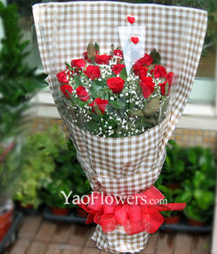 21 Red roses with baby's breath