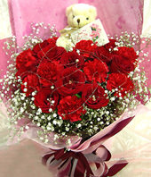 10 Red Carnations,8 Red Roses and A bear