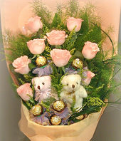 9 Roses,6 cholocates,a pair of bear