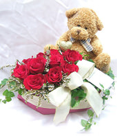 1 Teddy Bear,11 Red roses