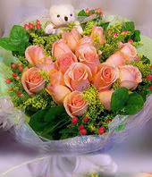16 Champange roses with A bear