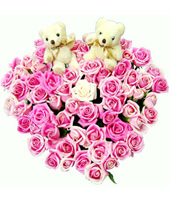 66 Pink roses and a pair of bear