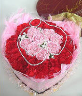 66 Carnations with red and pink