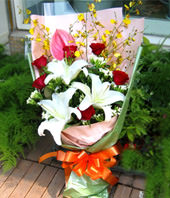 3 Lilium,1 Pink flamgo flowers,6 roses
