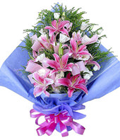 6 Pink lilium,royal blue