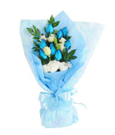 Bouquet of 9 Blue Roses & White Carnations