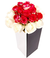 24 White, Pink And Red Roses In Vase