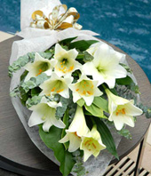 Long Sheath White Lilies Hand Bouquet