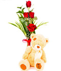 4 Red Roses With Plush Toy