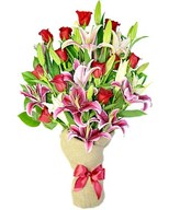 8 oriental lilies, 12 red roses and greens