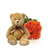 Orange Roses bouquet and a plush bear