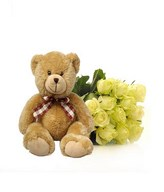 Bouquet of Dozen White Roses and a Bear
