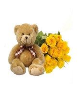 12 Yellow Roses and a Bear