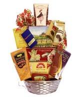 Gourmet basket with crackers, truffles, coffee, cheese, chocolates and more