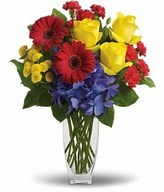 yellow roses, red gerberas, miniature carnations & yellow chrysanthemums in a bouquet