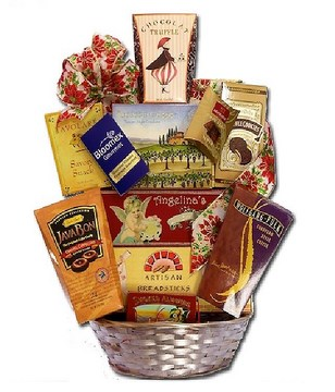 Basket of chocolate, coffee and teas, crackers, etc