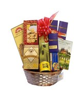 Hamper with assorted gourmet cheeses, seafood, mussels, breadsticks and crackers