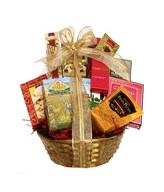 Snack basket with cookies, nuts, almonds, chips, truffles, candies, chocolate and more
