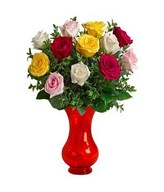 Bouquet of 12 Mixed Long Stem Roses
