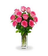 12 Long Stemmed Pink Roses in a Bouquet