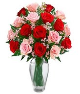 Bouquet of 9 Pink Roses & 9 Red Roses with Greens