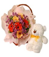 Gerberas mixed bouquet with a bear