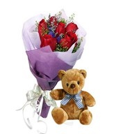 6 Red Roses Hand Bouquet & a Small Bear