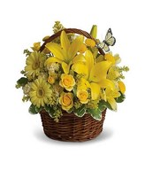Arrangement of Yellow Flowers in a Basket