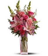 mix of fresh pink flowers such as roses, Asiatic lilies, carnations, snapdragons and waxflower.