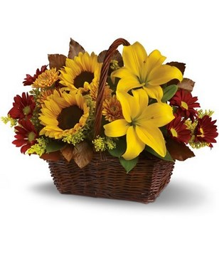 delightful basket of fresh fall flowers