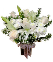 White Lily & Roses In Glass Vase