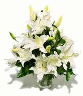 Hand Bouquet Of White Lilies
