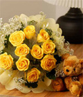 12 Stalks Yellow Roses With Bear