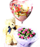 11 purple Son of Heaven roses. Bear. the balloon