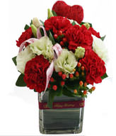 Big red flower carnations . Dragon fruit , Vase Included, To mom